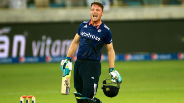 Jos Buttler leaps for joy after crashing a 46-ball hundred
