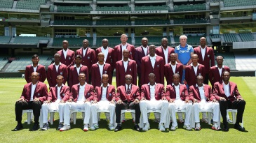 The West Indies team and management pose at the MCG