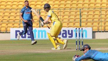 B Indrajith tucks the ball fine