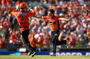 Brad Hogg sets off on a celebratory run after removing Nathan Reardon, Perth Scorchers v Brisbane Heat, BBL 2015-16, Perth, December 26, 2015