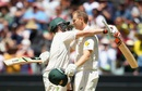 Adam Voges gets a hug from Steven Smith after reaching his century, Australia v West Indies, 2nd Test, Melbourne, 2nd day,  December 27, 2015