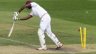 Jason Holder was bowled for a first-ball duck