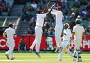 West Indies celebrate the wicket of Joe Burns, Australia v West Indies, 2nd Test, Melbourne, 3rd day, December 28, 2015