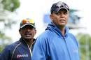 Sri Lanka's interim coach Jerome Jayaratne (R) at the ground, New Zealand v Sri Lanka, 2nd ODI, Christchurch, December 28, 2015