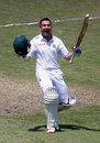 Dean Elgar celebrates reaching three figures, South Africa v England, 1st Test, Durban, 3rd day, December 28, 2015
