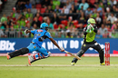 Mahela Jayawardene struggled to make his ground despite a dive, Sydney Thunder v Adelaide Strikers, BBL 2015-16, Sydney, December 28, 2015