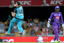 Luke Feldman is thrilled after dismissing Kumar Sangakkara for 32, Brisbane Heat v Hobart Hurricanes, Big Bash League 2015-16, Brisbane, December 29, 2015