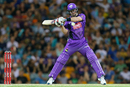 Daniel Christian keeps his eyes on the ball during his brisk fifty, Brisbane Heat v Hobart Hurricanes, Big Bash League 2015-16, Brisbane, December 29, 2015