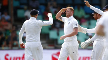Ben Stokes and Joe Root exchange a salute