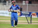 Asghar Stanikzai walks off after chopping one onto his stumps, Afghanistan v Zimbabwe, 2nd ODI, Sharjah, December 29, 2015