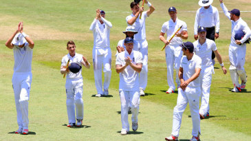The England players celebrate their 241-run win