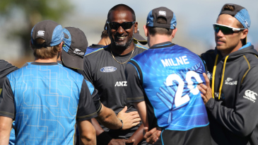 Dimitri Mascarenhas shares a laugh with the New Zealand players