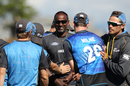 Dimitri Mascarenhas shares a laugh with the New Zealand players, New Zealand v Sri Lanka, 3rd ODI, Nelson, December 31, 2015