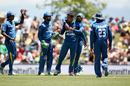 Milinda Siriwardana is congratulated after dismissing Kane Williamson, New Zealand v Sri Lanka, 3rd ODI, Nelson, December 31, 2015