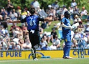 Mitchell McClenaghan celebrates after dismissing Danushka Gunathilaka, New Zealand v Sri Lanka, 3rd ODI, Nelson, December 31, 2015