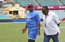 Phil Simmons chats with Clive Lloyd during a practice session, Sydney, January 2, 2016