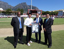 Aleem Dar was presented with a memento of his 100th Test, South Africa v England, 2nd Test, Cape Town, 1st day, January 2, 2016