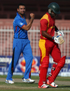Dawlat Zadran dismissed Chamu Chibhabha for a duck, Afghanistan v Zimbabwe, 3rd ODI, Sharjah, January 2, 2016