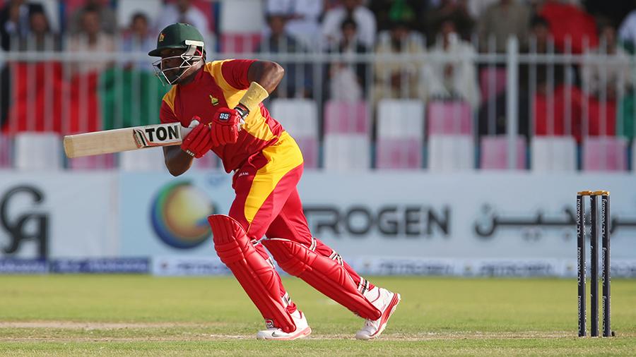 Hamilton Masakadza plays the ball down the ground