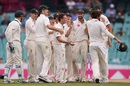 Steve O'Keefe celebrates Jason Holder's wicket with his team-mates, Australia v West Indies, 3rd Test, Sydney, 1st day, January 3, 2016
