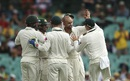 Nathan Lyon celebrates a wicket with his team-mates, Australia v West Indies, 3rd Test, Sydney, 1st day, January 3, 2016