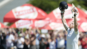 Ben Stokes celebrates his hundred