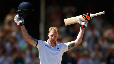 Ben Stokes salutes the crowd after bringing up his century