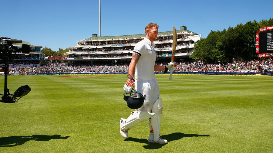 Ben Stokes leaves the field after being run out for 258