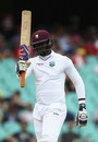 Carlos Brathwaite acknowledges his rapid fifty, Australia v West Indies, 3rd Test, Sydney, 2nd day, January 4, 2016