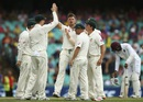James Pattinson is mobbed by his team-mates, Australia v West Indies, 3rd Test, Sydney, 2nd day, January 4, 2016