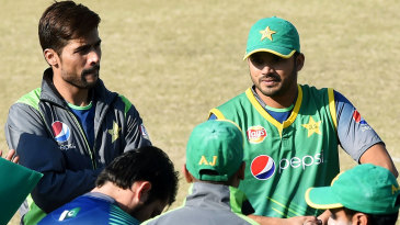Mohammad Amir and Azhar Ali look on during a training camp