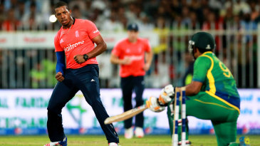 Chris Jordan celebrates bowling Umar Akmal