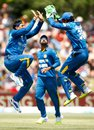 Tillakaratne Dilshan and Dinesh Chandimal celebrate Kane Williamson's wicket, New Zealand v Sri Lanka, 5th ODI, Mount Maunganui, January 5, 2016
