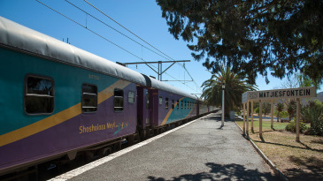 A train at Matjiesfontein Station, South Africa