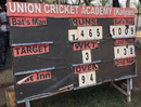 A scoreboard at the ground in Kalyan displays Pranav Dhanawade's record score of 1009*, Mumbai, January 5, 2016