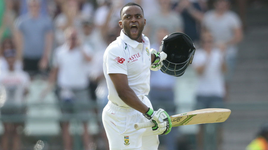 ...going on to his maiden Test hundred - the first by a black South African - before the declaration came