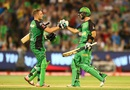 Luke Wright and Glenn Maxwell greet each other after sealing victory for the Stars, Melbourne Stars v Hobart Hurricanes, BBL 2015-16, Melbourne, January 6, 2016