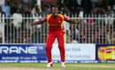 Luke Jongwe is elated after taking a wicket, Afghanistan v Zimbabwe, 5th ODI, Sharjah, January 6, 2016