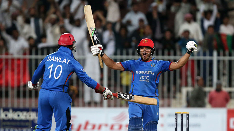 Gulbadin Naib and Dawlat Zadran celebrate Afghanistan's historic win