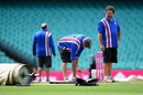 The groundstaff prepare the pitch for play,  Australia v West Indies, 3rd Test, Sydney, 5th day, January 7, 2016