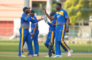 Sulieman Benn celebrates one of his four wickets, Barbados v ICC Americas, Nagico Super50 2016, St Augustine, January 7, 2016