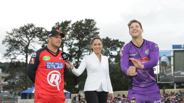 Aaron Finch, Mel McLaughlin and Tim Paine at the toss