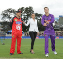 Renegades captain Aaron Finch, TV presenter Mel McLaughlin and Hurricanes captain Tim Paine at the toss, Hobart Hurricanes v Melbourne Renegades, Big Bash League, Hobart, January 4, 2016