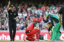 Peter Nevill was run-out after the ball hit Adam Zampa's nose off his bat before it hit the stumps, Melbourne Renegades v Melbourne Stars, BBL 2015-16, Melbourne, January 9, 2016