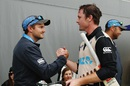 Colin Munro is greeted by New Zealand coach Mike Hesson after he smashed a 14-ball 50, New Zealand v Sri Lanka, 2nd T20I, Auckland, January 10, 2016