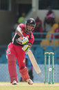 Kjorn Ottley drives during his 80 not out, Trinidad & Tobago v Barbados, Nagico Super50 2016, Port-of-Spain, January 9, 2016