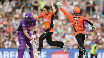 Brad Hogg celebrates the wicket of Dan Christian