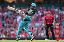 Lendl Simmons pulls en route to his 30-ball 54, Sydney Sixers v Brisbane Heat, BBL 2015-16, Sydney, January 10, 2016