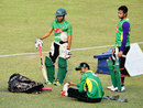 Mushfiqur Rahim and Shakib Al Hasan participate in a training session, Khulna, January 10, 2015