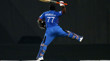 Mohammad Shahzad leaps with joy for his 52-ball hundred